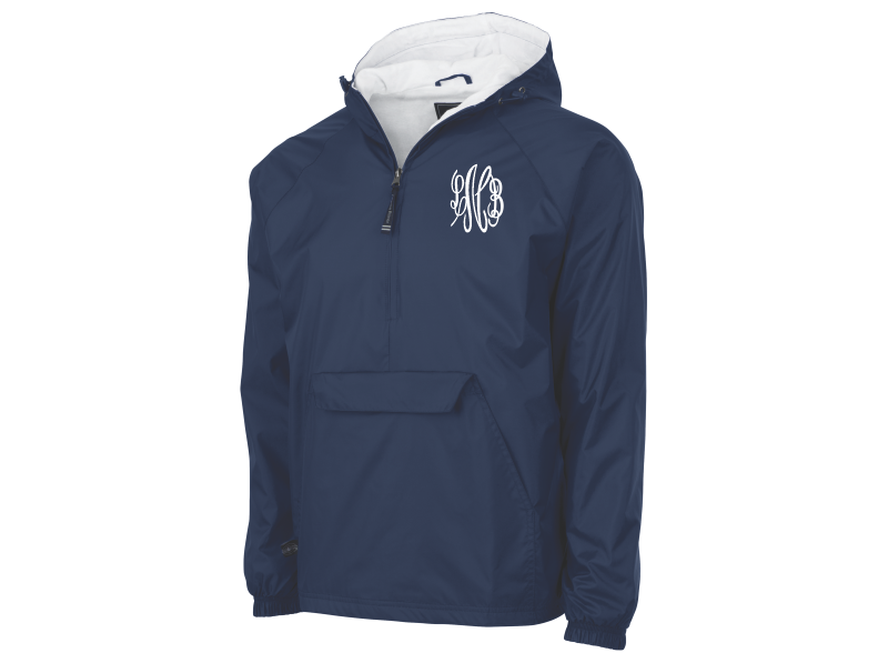 Monogrammed Classic Solid Pullover Rain Jacket (Navy Blue)