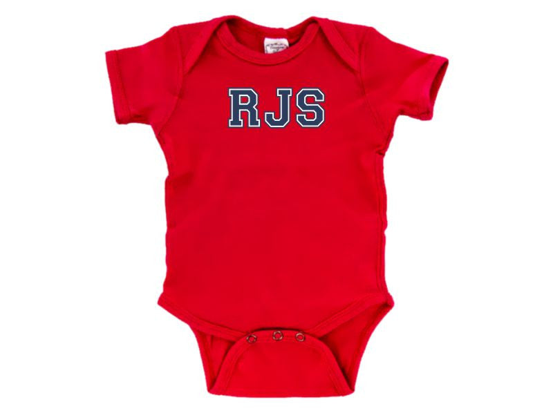 Personalized Infant One Piece Creeper for Boys (Red)