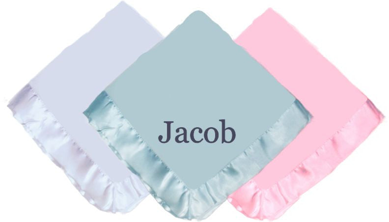 Custom Personalized Tahoe Microfleece Baby Blanket with Satin Trim