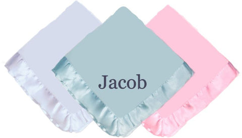 Custom Personalized Baby Blanket with Satin Trim