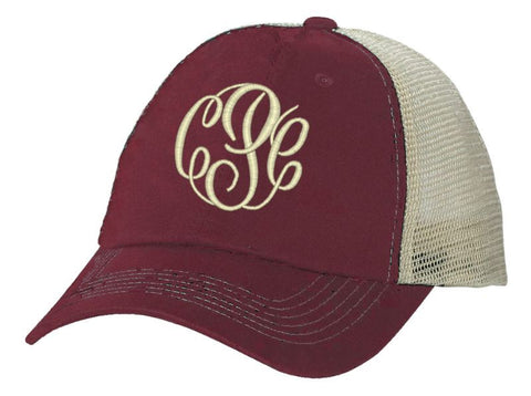 Women's Monogrammed Trucker Baseball Cap Burgundy and Stone