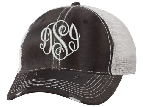 Women's Monogrammed Trucker Baseball Cap Black and Silver