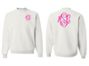Monogrammed Sweatshirt Front and Back (White)