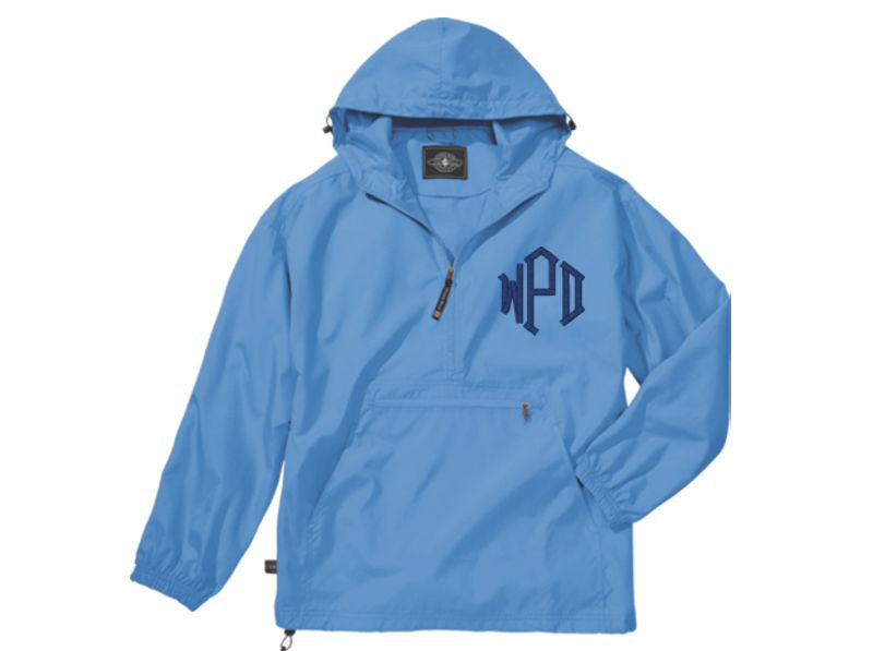 Monogrammed Lightweight Pullover Rain Jacket (Light Blue)