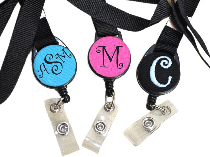 Personalized Monogrammed Badge Reels with Lanyard (Curlz Monogram)