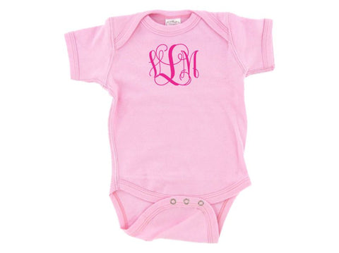 Personalized White Infant One Piece Creeper (Pink)