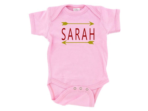 Personalized Pink Infant One Piece Creeper with Name