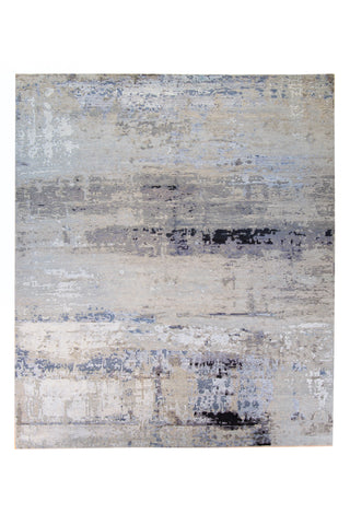 Abstract Grey Wool & Silk Rug 9x12