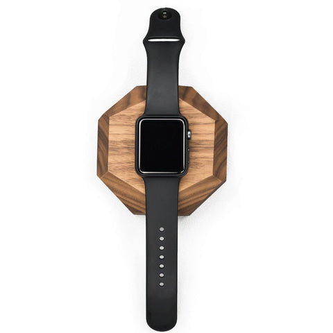 Walnut Faceted Apple Watch Charging Station