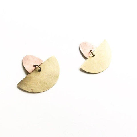 Courtney Fischer Jewelry - Brass and Copper Half Moon Stud Earrings