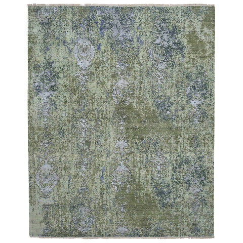 8x10 | Green Abstract Design | Wool and Silk