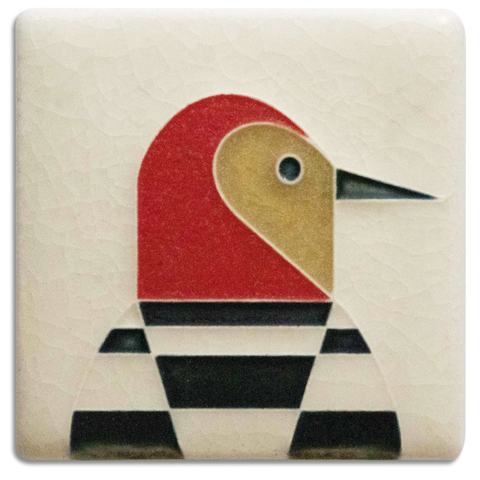 Motawi Woodpecker in Cream - 3x3