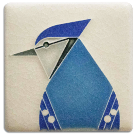 Motawi Blue Jay in Cream - 3x3