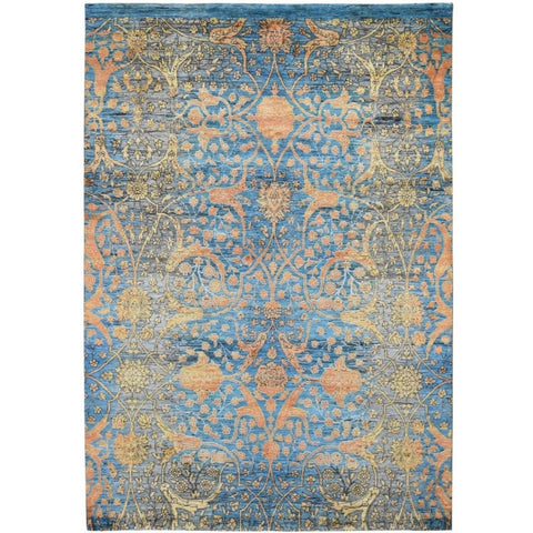 5x7 | Blue Transitional Persian | Wool and Silk