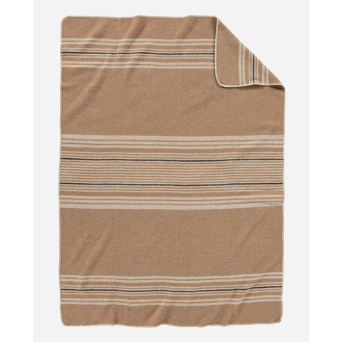 Eco-Wise Wool Throw | Camel Irving Stripe