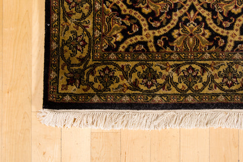 Black and Gold Wool Rug - 2 1/2 x 10
