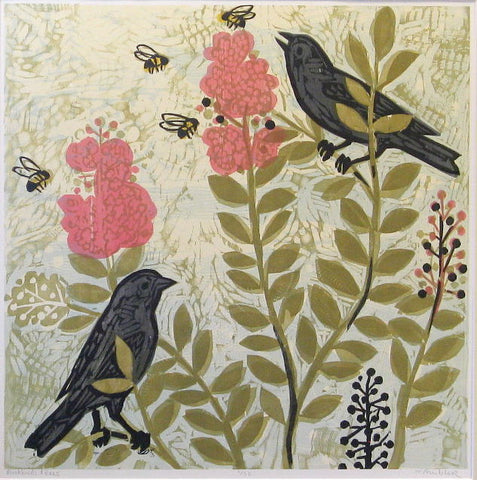 Blackbirds and Bees 32x32 | Woodblock Print