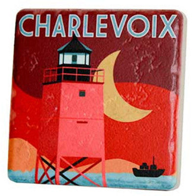 Charlevoix Travel Poster Coaster - Artisan's Bench