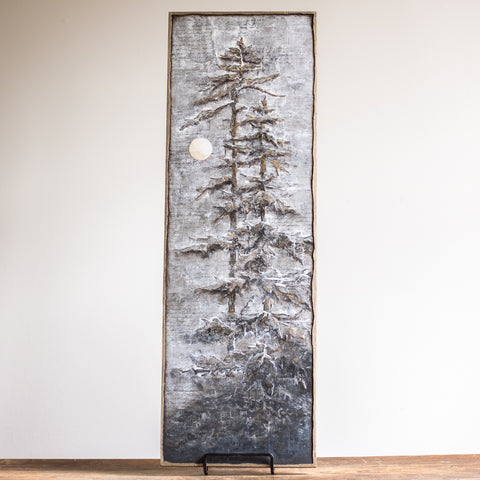 8x24 | Pine Trees and Moon | Silver