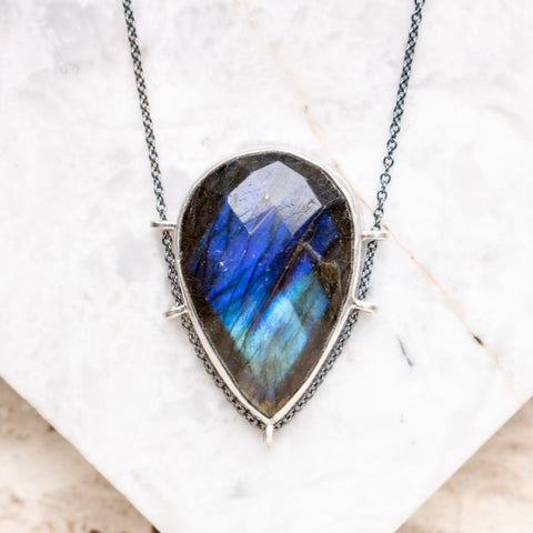 Faceted Labradorite Teardrop Necklace
