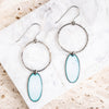 Enamel Oval on Silver Hoop Earrings