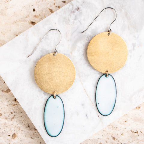 Enamel Oval on Brass Earrings