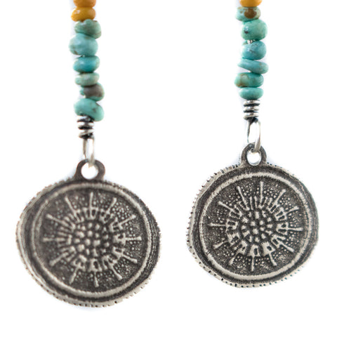 Turquoise & Glass Dinker Earrings
