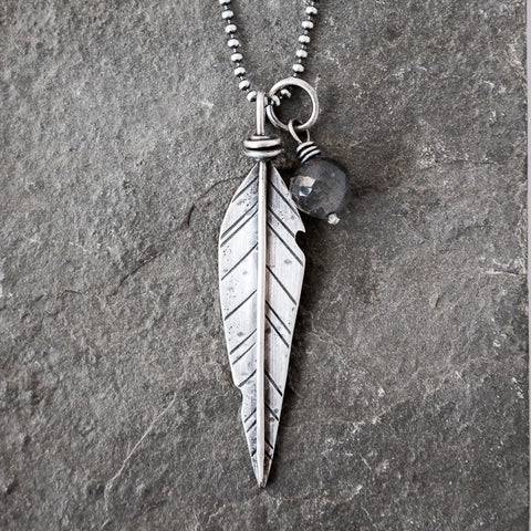 Rebel Heart Labradorite Feather Necklace