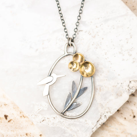 Hummingbird + Blooms Necklace