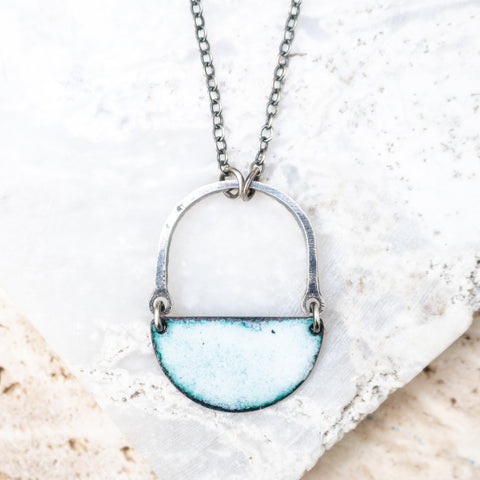 Enamel + Silver Arch Necklace