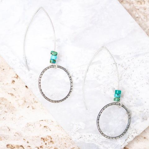 Turquoise + Circle Hoops