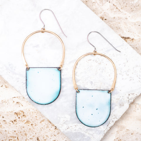 Gold + Enamel Tab Hoop Earrings
