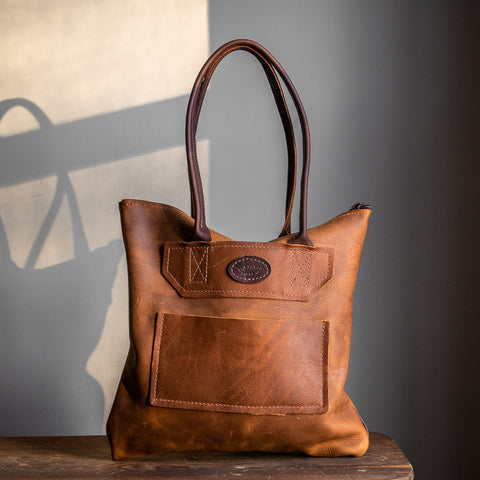 Zippered Tote Bag | Saddle Brown