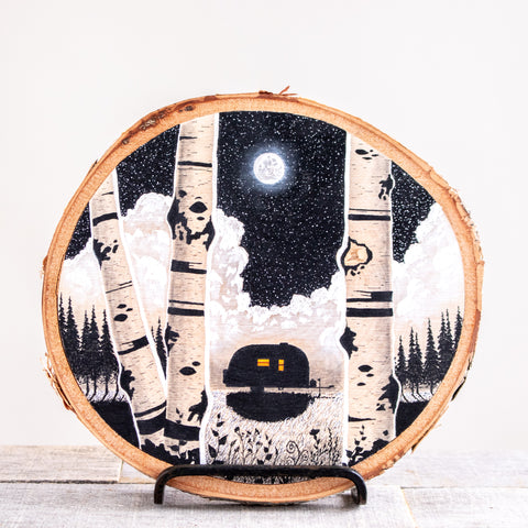 Airstream Under Moon | Drawing on Wood