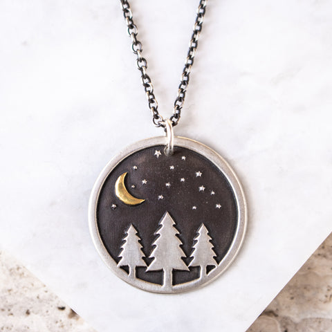 Midnight Pines w/ Golden Moon Necklace