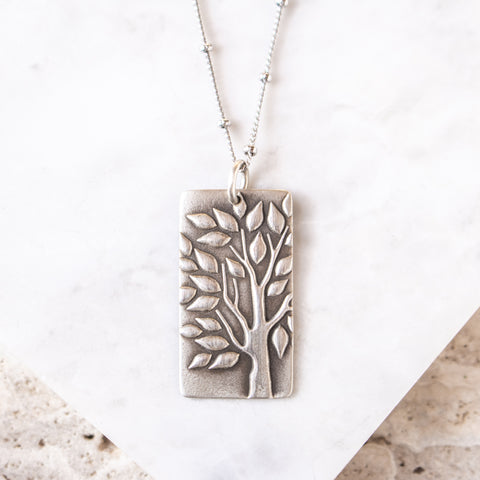 Tree Stamp Rectangle Necklace
