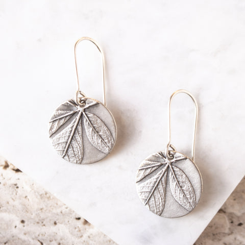 Round Cleome Leaf Earrings