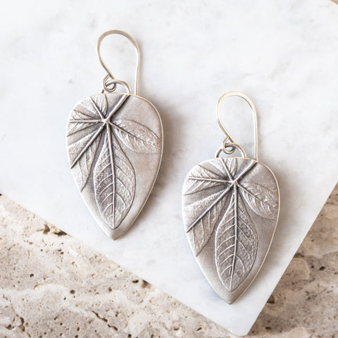 Cleome Leaf Reverse Teardrop Earrings