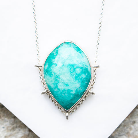 Amazonite Dark Teardrop Necklace