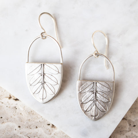 Vetch Leaf Basket Earrings