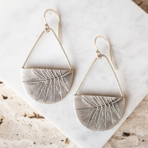 Sorbaria Leaf Basket Earrings