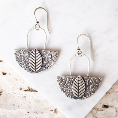 Leaf + Concrete Texture Earrings