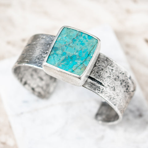 Chrysocolla and Birch Cuff