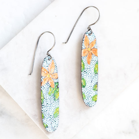 Long Oval Mandarina Flower Earrings