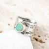 Size  7.5 | Chrysocolla Birch Circle Ring