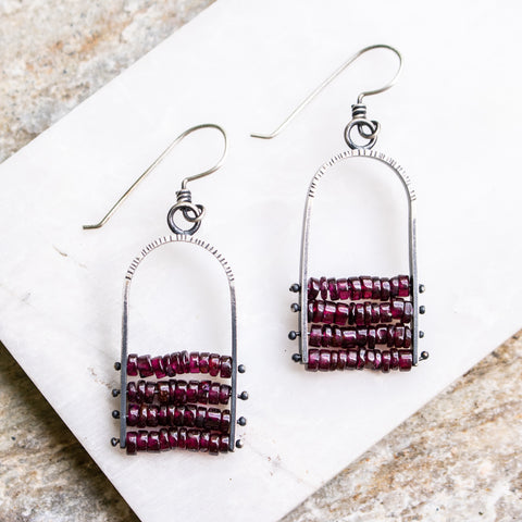 Pinned Garnet Chandelier Earrings