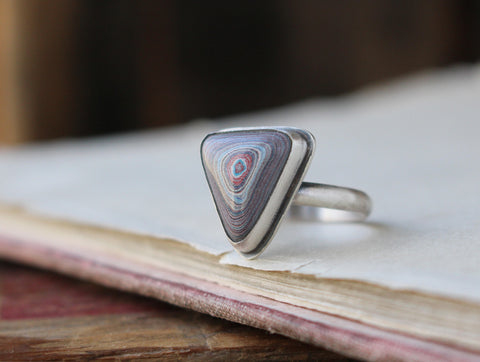 Fordite Triangle Ring (Size 7) - Artisan's Bench