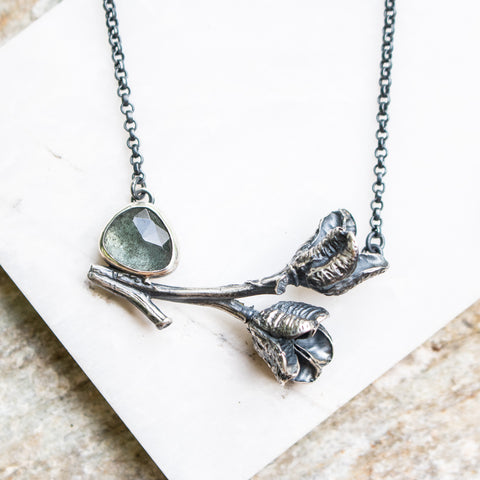 Aquamarine + Daylily Pods Necklace
