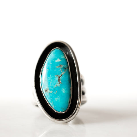 Turquoise Triple Band Shadowbox Ring
