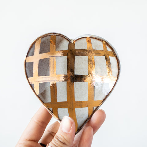 Gold Luster Heart Dish